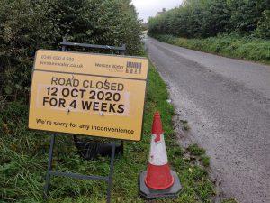 Advance Warning Road Closure Lime street Shurton Lane Stogursey 12th October